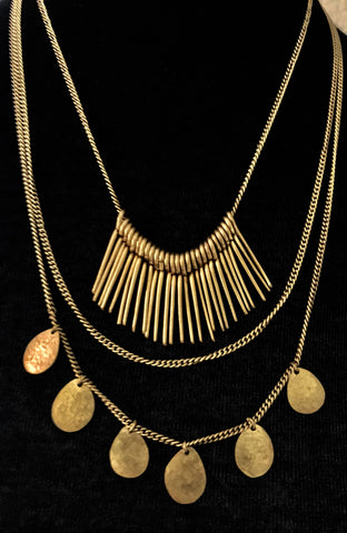 Ghana Brass Three Tier Necklace