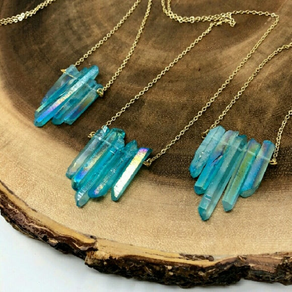 Aqua Aura Mermaid Quartz Necklace