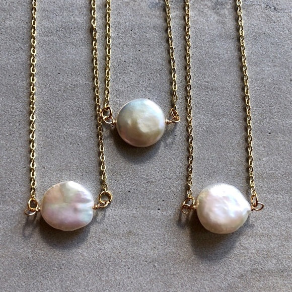 Dainty Gold Freshwater White Pearl Necklace