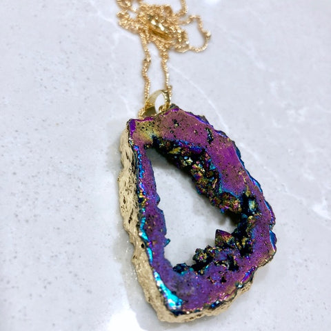 Large Galaxy Druzy Slice Necklace