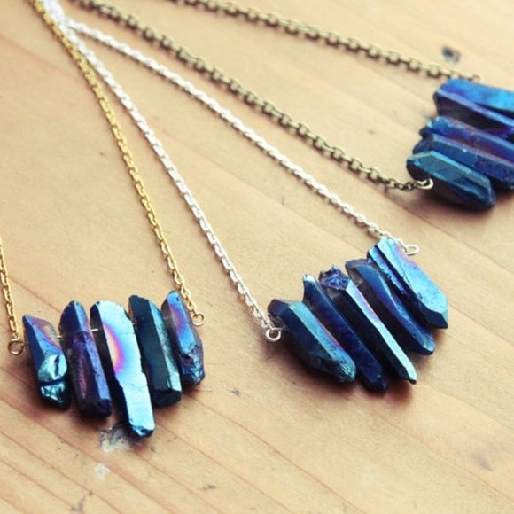 Royal Blue Titanium Quartz Necklace