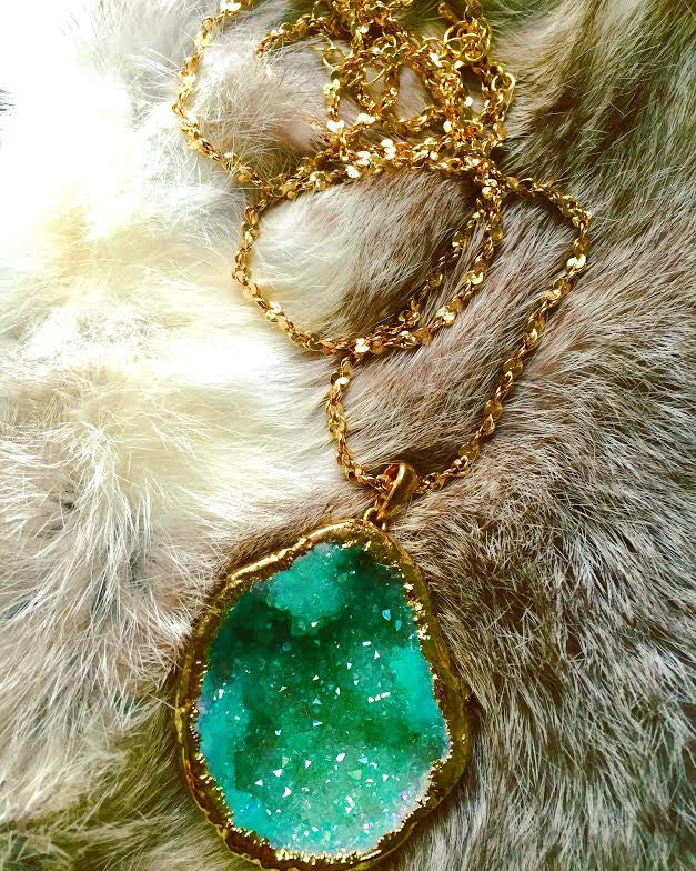 Sea Foam Green Druzy Statement Necklace