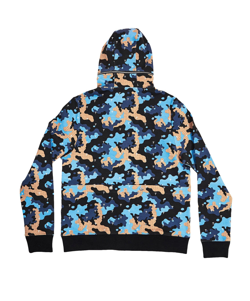 The TACKMA Divided Zip Off Hoodie Indigo Camo Back