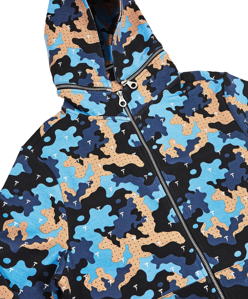 The TACKMA Divided Zip Off Hoodie Indigo Camo Detail 3