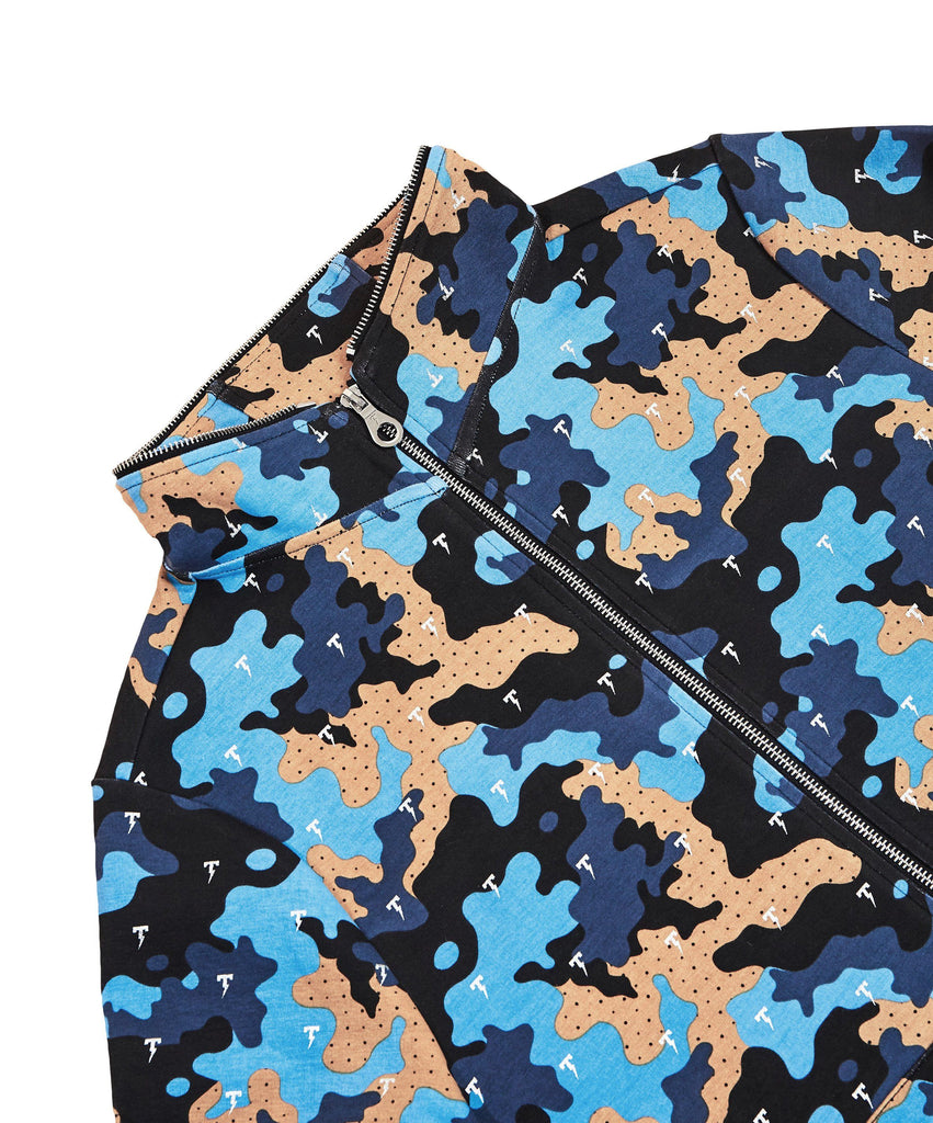 The TACKMA Divided Zip Off Hoodie Indigo Camo Detail 4