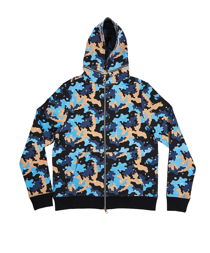 The TACKMA Divided Zip Off Hoodie Indigo Camo Front