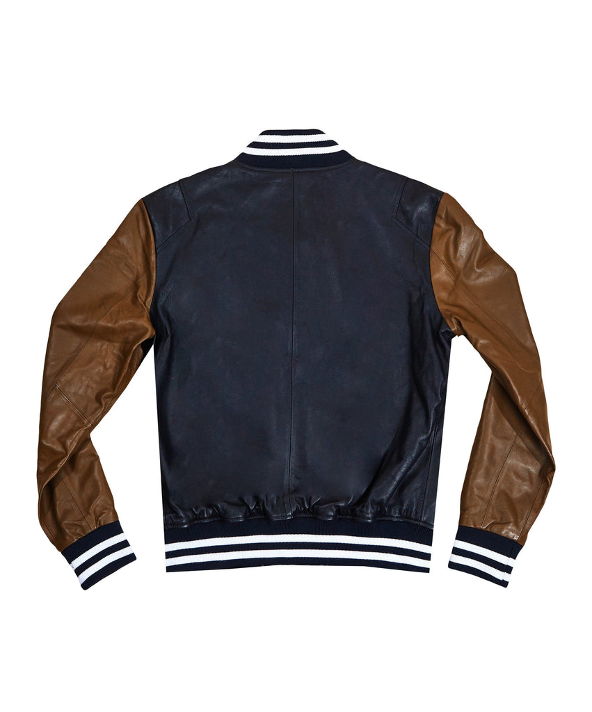 The TACKMA Kiefer Leather Varsity Jacket Back