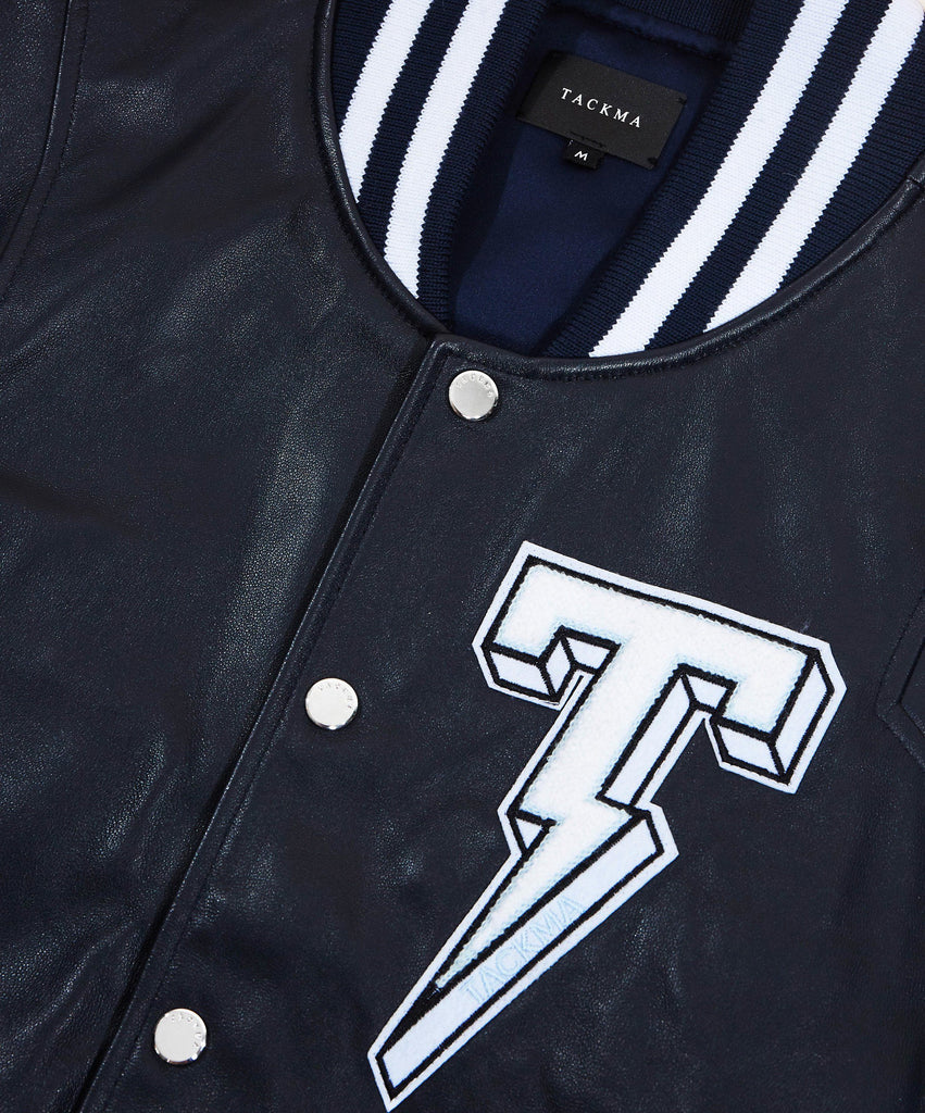 The TACKMA Kiefer Leather Varsity Jacket Detail 1
