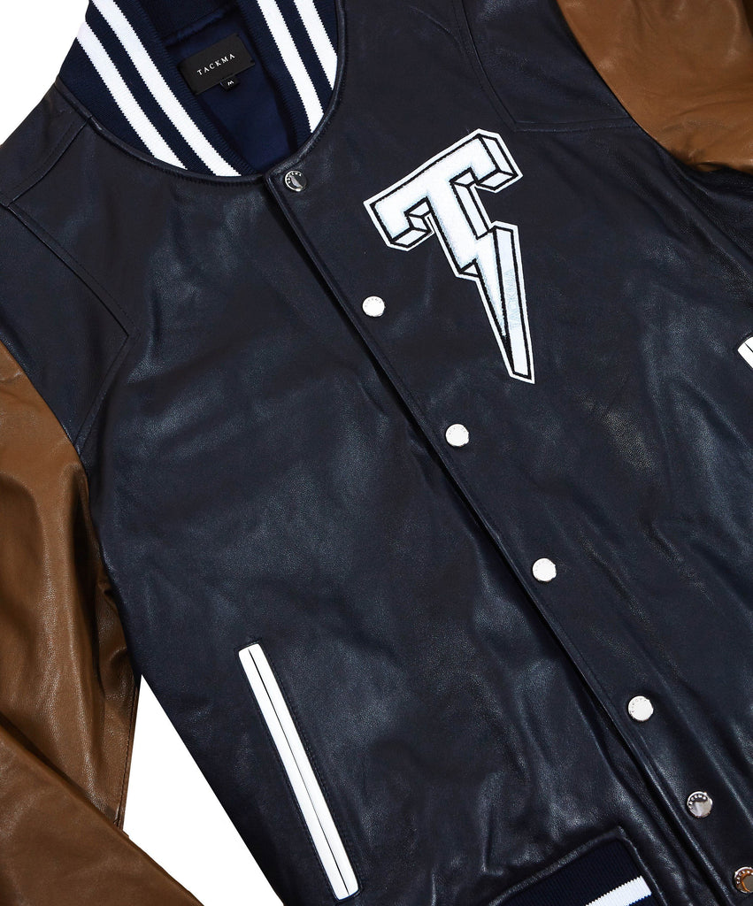 The TACKMA Kiefer Leather Varsity Jacket Detail 2