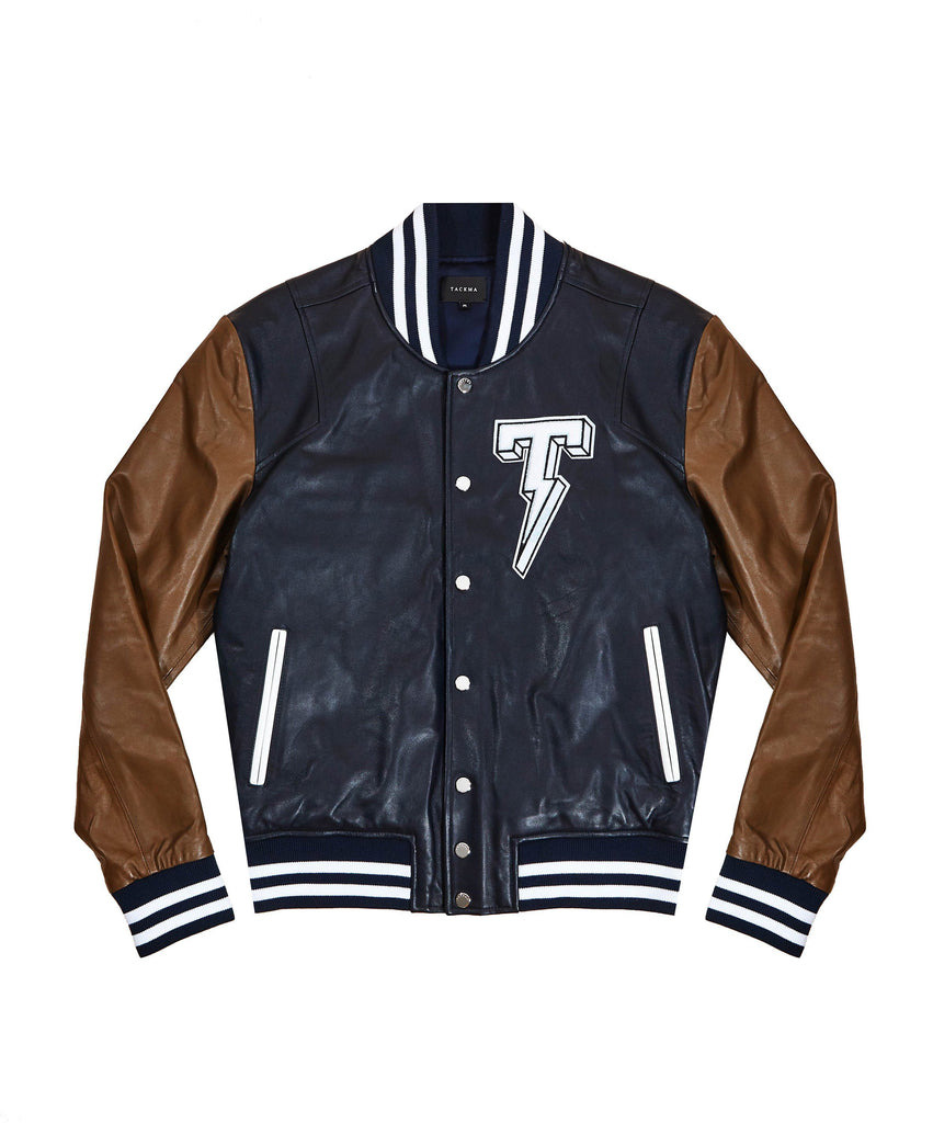 The TACKMA Kiefer Leather Varsity Jacket Front