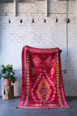 [SOLD] CRANBERRY COCKTAIL azilal vintage moroccan berber carpet