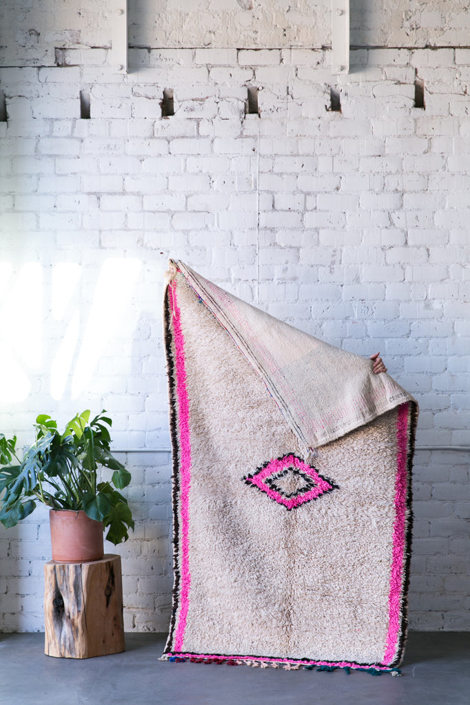 [SOLD] THE GOOD KIND OF PINK EYE azilal vintage moroccan berber carpet