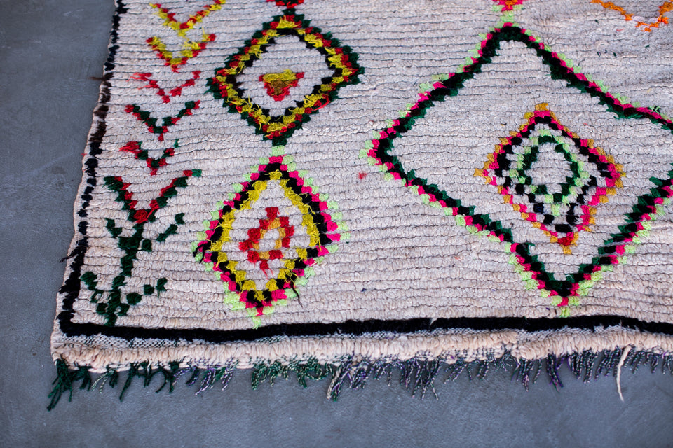 [SOLD] FIRST LOVE boucherouite vintage moroccan berber carpet