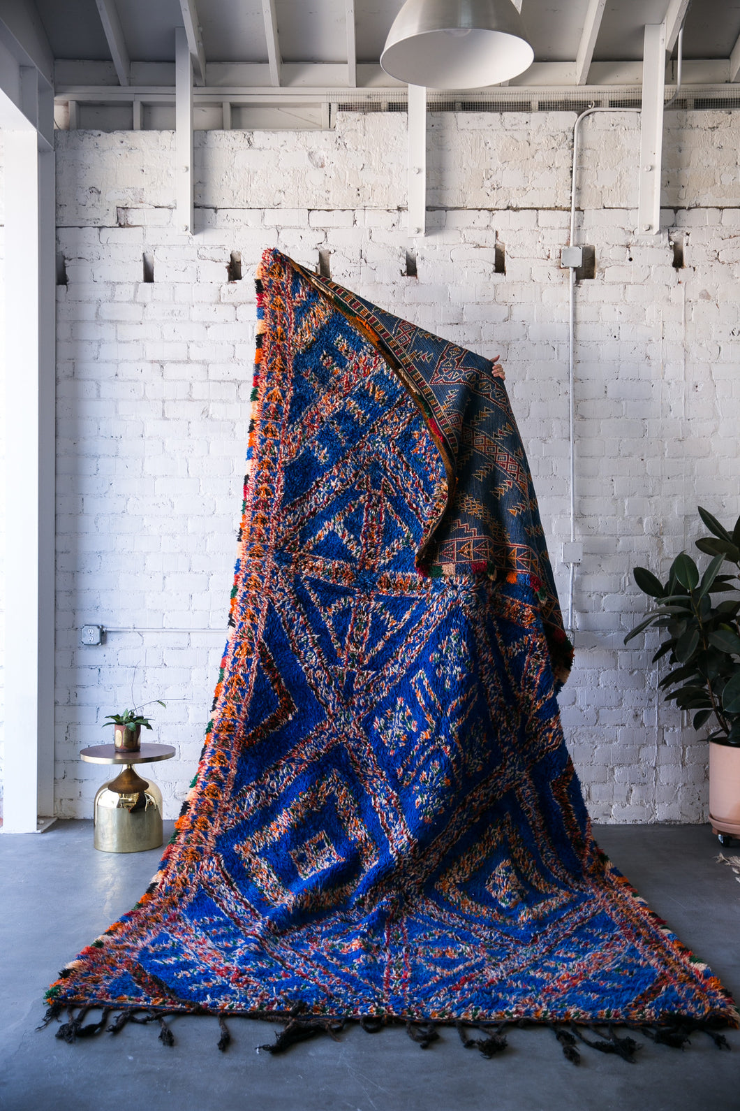 [SOLD] BIG BLUE boucherouite vintage moroccan berber carpet