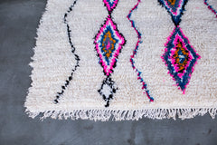 [SOLD] WHITE RABBIT boucherouite vintage moroccan berber carpet