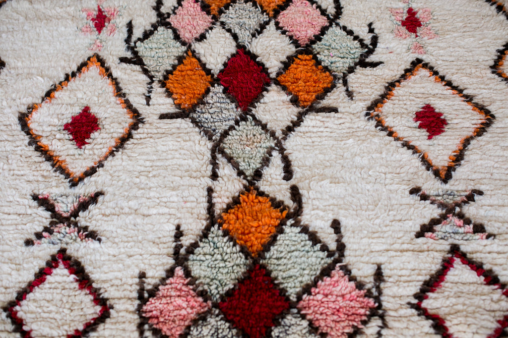 [SOLD] BLOOD ORANGE boucherouite vintage moroccan berber carpet
