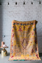 [SOLD] HELLO YELLOW tuareg vintage moroccan berber carpet
