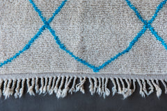 THE THIN BLUE LINE vintage beni ourain moroccan berber carpet