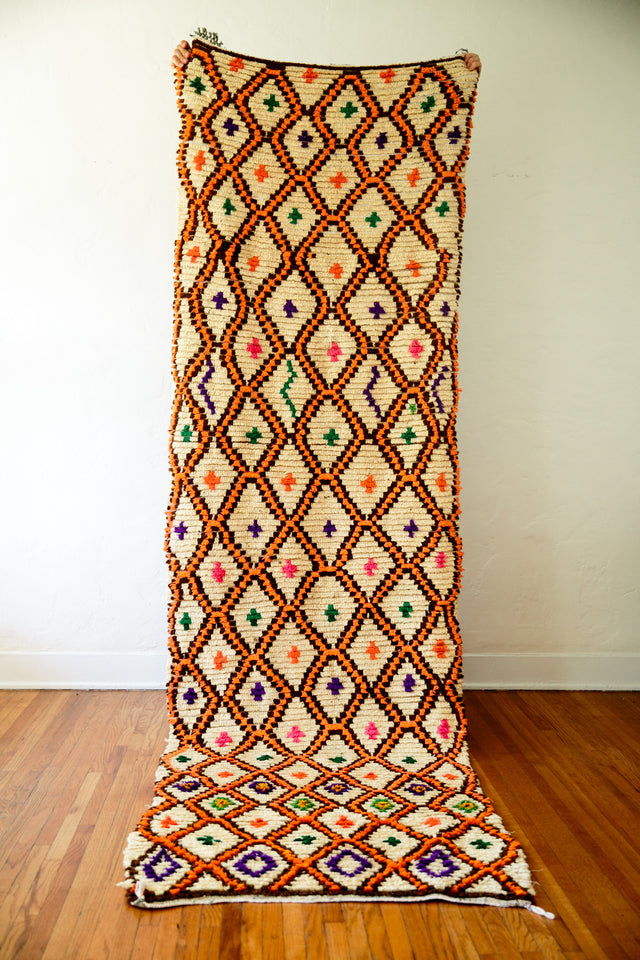 [SOLD] CLOCKWORK ORANGE boucherouite vintage moroccan berber carpet