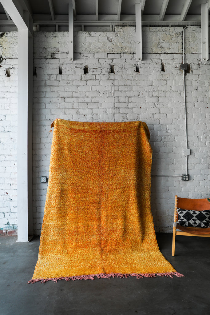 [SOLD] BAKED YELLOW vintage marirt berber moroccan rug