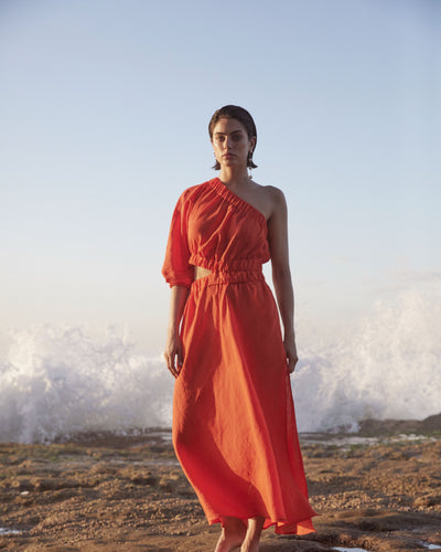 PRE-ORDER - PURE LINEN - ONE SHOULDER MAXI - RED-DRESS-Watson X Watson-Watson X Watson