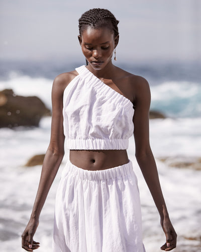 PURE LINEN - ONE SHOULDER CROP TOP - WHITE-TOP-Watson X Watson-Watson X Watson