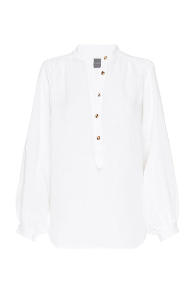 PURE LINEN - GATHERED BLOUSE - WHITE-SHIRTS-Watson X Watson-Watson X Watson
