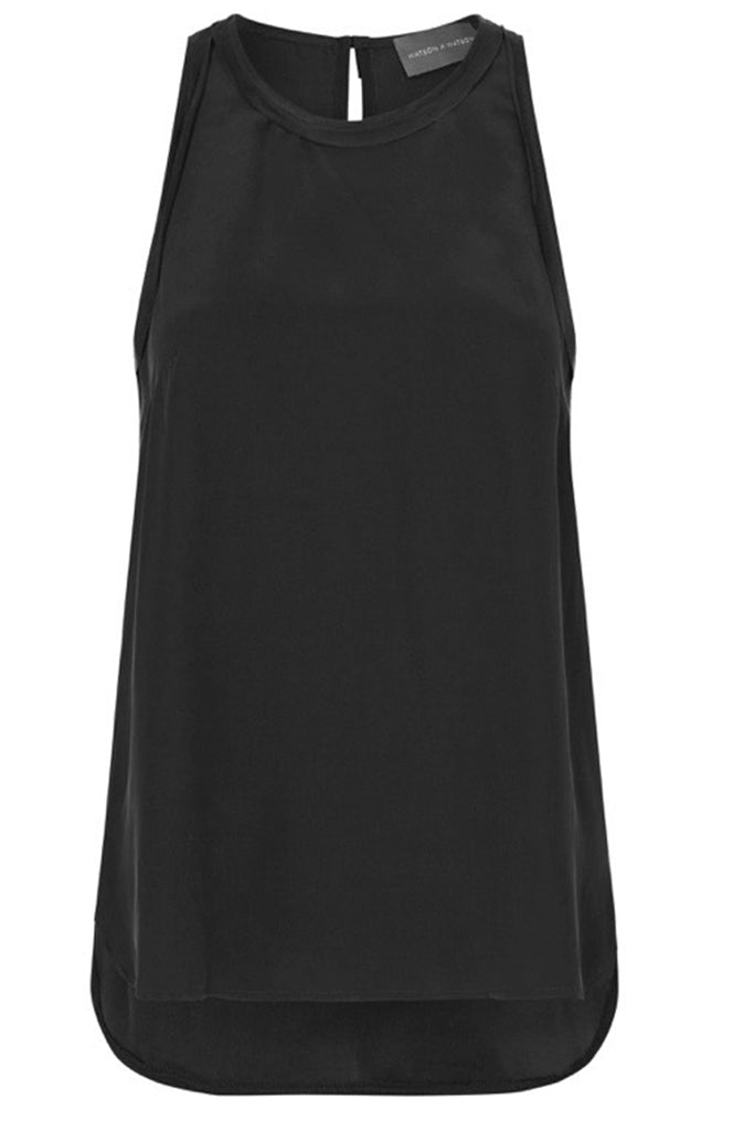 SILK HIGH NECK CAMI - BLACK-TOP-Watson X Watson-Watson X Watson