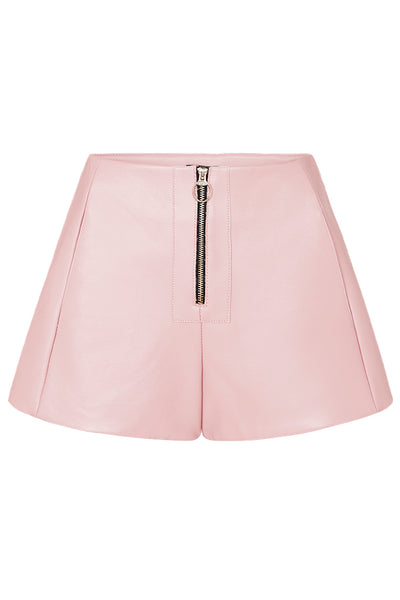 ZIP FRONT LEATHER SHORTS - BABY PINK