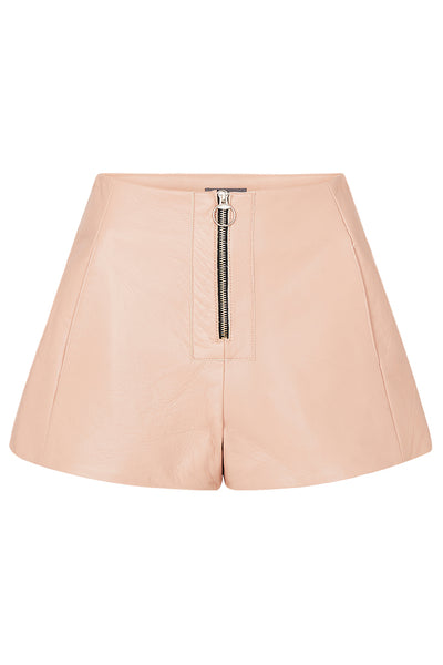 ZIP FRONT LEATHER SHORTS - BEIGE