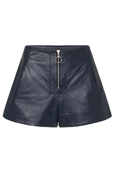 ZIP FRONT LEATHER SHORTS - NAVY