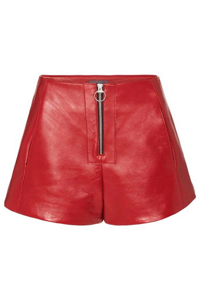 ZIP FRONT LEATHER SHORTS - RED-SHORTS-Watson X Watson-Watson X Watson