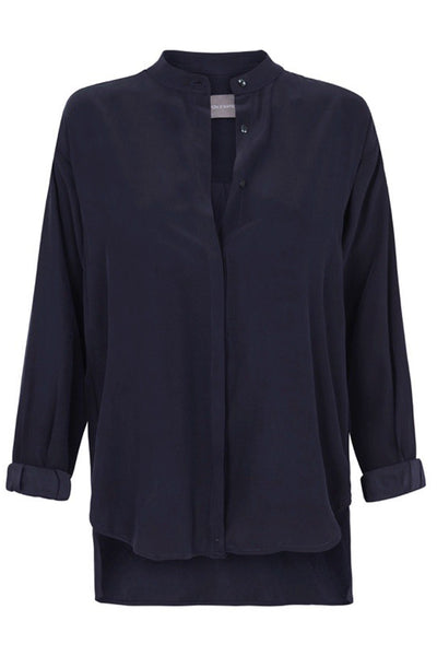 SANDWASHED SILK LOW COLLAR BLOUSE - NAVY-SHIRTS-Watson X Watson-Watson X Watson
