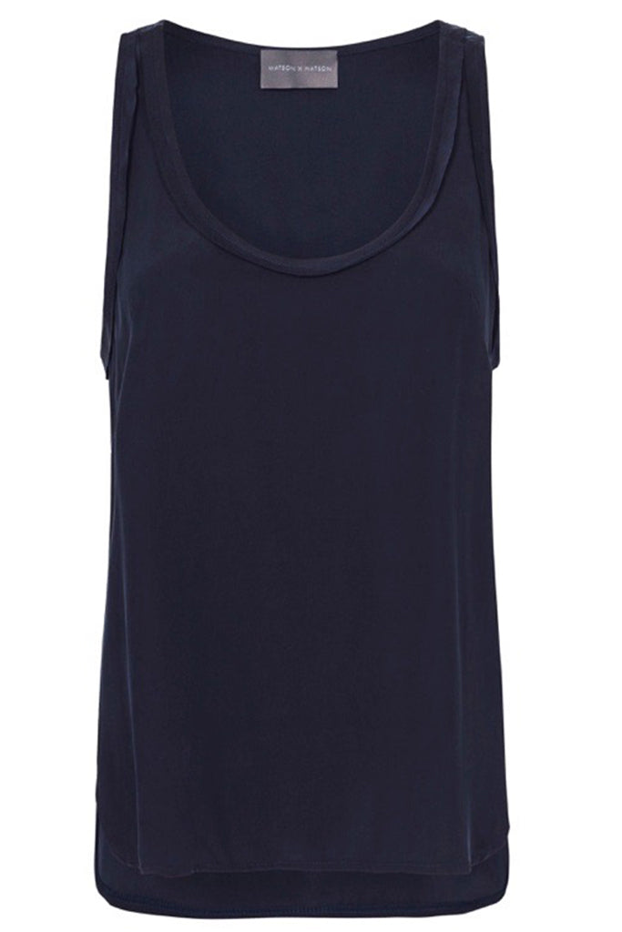 SILK LOW NECK CAMI - NAVY-TOP-Watson X Watson-Watson X Watson