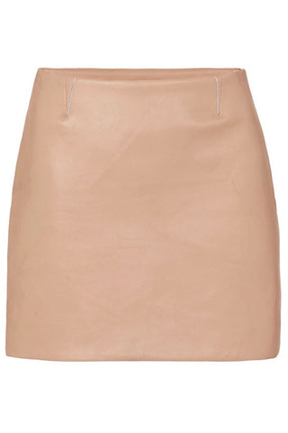 MODERN LEATHER MINI SKIRT - BEIGE