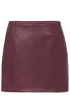 MODERN LEATHER MINI SKIRT - BURGUNDY-SKIRT-Watson X Watson-Watson X Watson