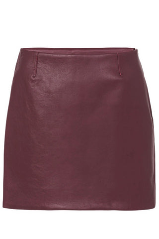 MODERN LEATHER MINI SKIRT - BURGUNDY