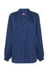 LINEN STRIPE - GATHERED BLOUSE - PACIFIC BLUE/WHITE-SHIRTS-Watson X Watson-Watson X Watson