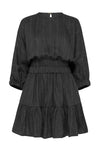 LINEN STRIPE - DOUBLE ELASTIC DRESS - BLACK/WHITE-DRESS-Watson X Watson-Watson X Watson
