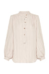 LINEN STRIPE - GATHERED BLOUSE - NATURAL/BLACK-SHIRTS-Watson X Watson-Watson X Watson
