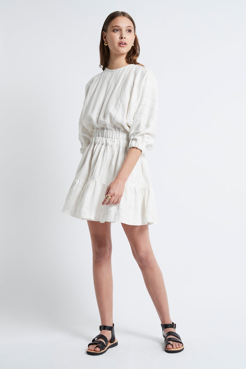 LINEN STRIPE DOUBLE ELASTIC DRESS - IVORY/BLACK-DRESS-Watson X Watson-Watson X Watson