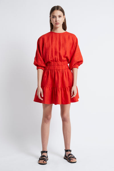 LINEN STRIPE DOUBLE ELASTIC DRESS - RED-DRESS-Watson X Watson-Watson X Watson