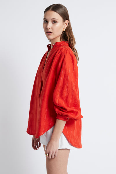 LINEN STRIPE GATHERED BLOUSE - RED-SHIRTS-Watson X Watson-Watson X Watson