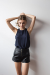 SILK HIGH NECK CAMI - NAVY-TOP-Watson X Watson-Watson X Watson