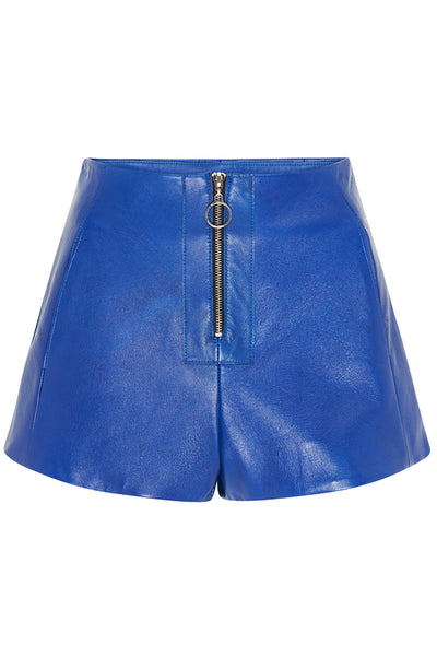 ZIP FRONT LEATHER SHORTS - COBALT-SHORTS-Watson X Watson-Watson X Watson