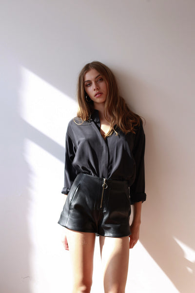 SANDWASHED SILK LOW COLLAR BLOUSE - BLACK-SHIRTS-Watson X Watson-Watson X Watson