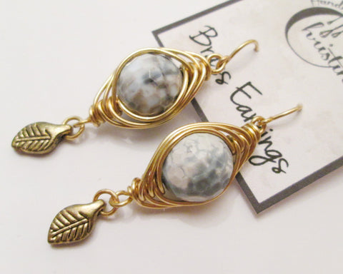 Herringbone Brass Wire Wrapped Agate Charm Earrings