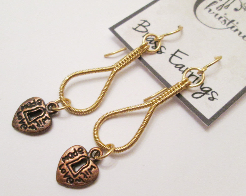 "Brass Wire Woven ""Made With Love"" Charm Earrings"