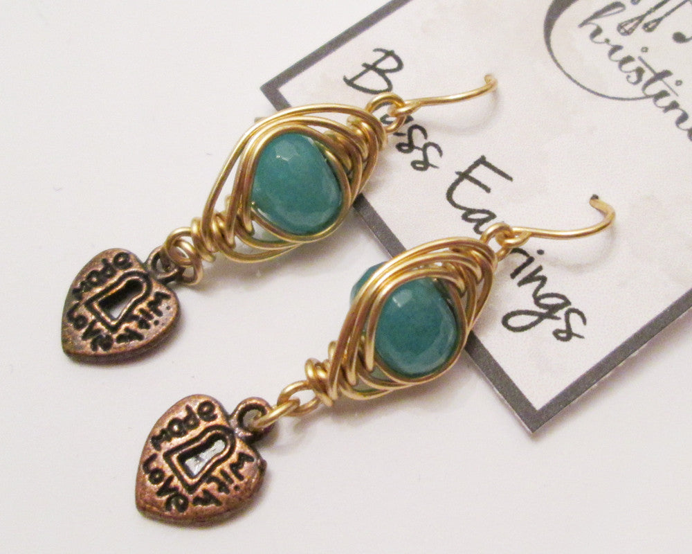 "Herringbone Brass Wire Wrapped Apatite ""Made With Love"" Earrings"
