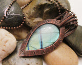 Oxidized Copper Wire Woven & Green & Blue Flash Labradorite Pendant